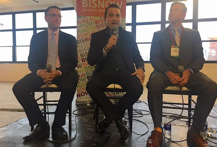 RXR Realty's Seth Pinsky, Newmark's Brian Waterman and Brause Realty's David Brause at Bisnow's Long Island City State of the Market event Dec. 5, 2017