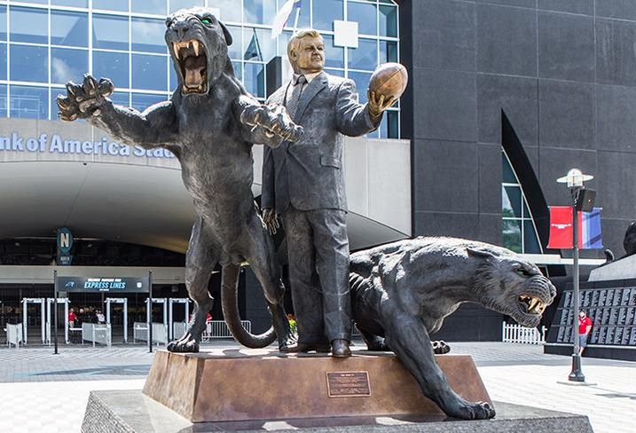 A statue of Jerry Richardson is at the north entrance of Bank of America Stadium.