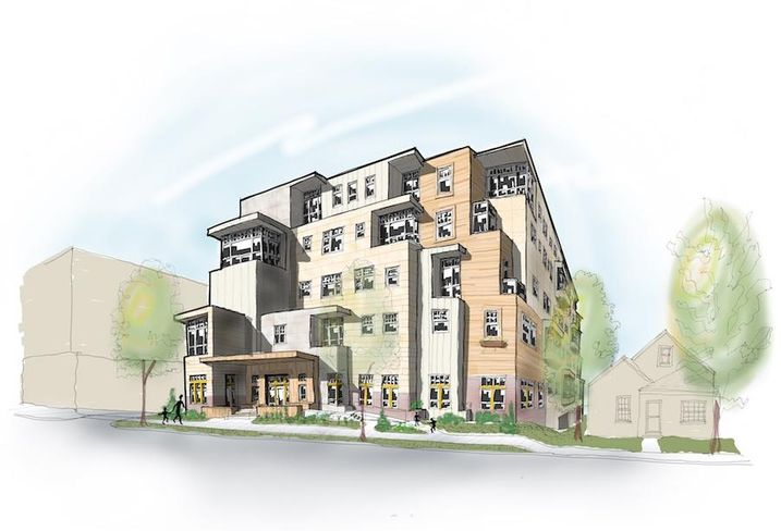 A rendering of the 70-unit affordable housing project planned at 715-719 Sligo Ave. in Silver Spring