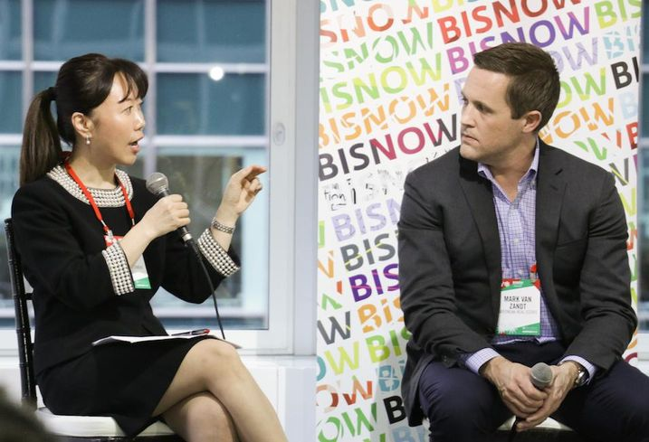Meridian Capital Group Senior Executive Managing Director Helen Hwang and GreenOak Real Estate partner Mark Van Zandt speak at Bisnow's 2018 NYC Forecast Dec. 12, 2018.