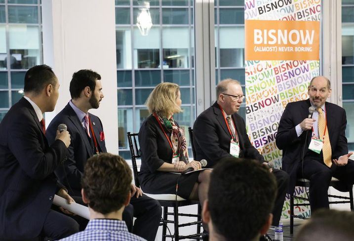 AmTrust Title's Dorian Lam, JLL's Ryan Severino, Savills Studley's Heidi Learner, Cushman & Wakefield's Ken McCarthy and CBRE's Jeffrey Havsy speak at Bisnow's 2018 NYC Forecast event Dec. 12, 2017.