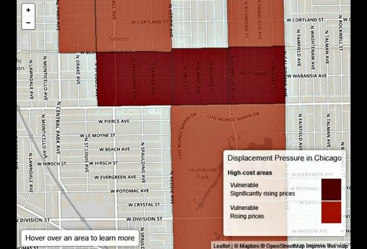 A map of housing displacement along the 606.