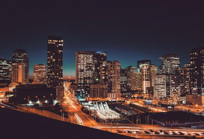 Seattle buildings at night