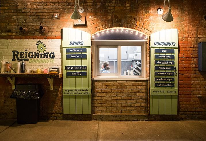Reigning Doughnuts takes up 90 SF of space in a former storage closet on 35th Street in NoDa.