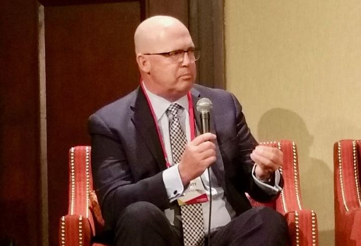 Swinerton Builders Gary Moriarty speaks during a student housing panel Nov. 30, 2017 at Bisnow's SoCal Student Housing & University Development in Los Angeles.