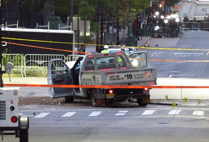 The Home Depot truck used during the Lower Manhattan terrorist attack in October 2017