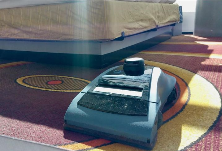 Maidbot's Rosie robot can clean an average size hotel room floor in six to eight minutes.