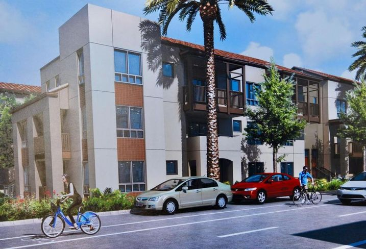 A photo of a rendering of the affordable housing units being developed in the Jordan Downs Housing projects in Watts.