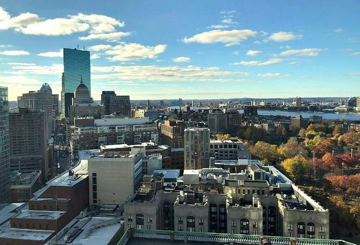 A skyline view of Boston and Cambridge, Massachusetts