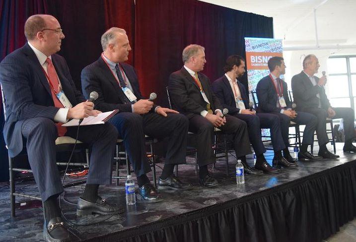 HFF's Jose Cruz, CBRE's Mike Hines, First Industrial Realty Trust's Peter Schultz, Dalfen America Corp.'s Sean Dalfen Blackstone's David Levine and USAA's David Buck