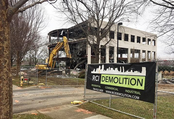 RCI Demolition tore down an office building located on an outparcel of SouthPark Mall, Thursday, Feb. 22, 2018.