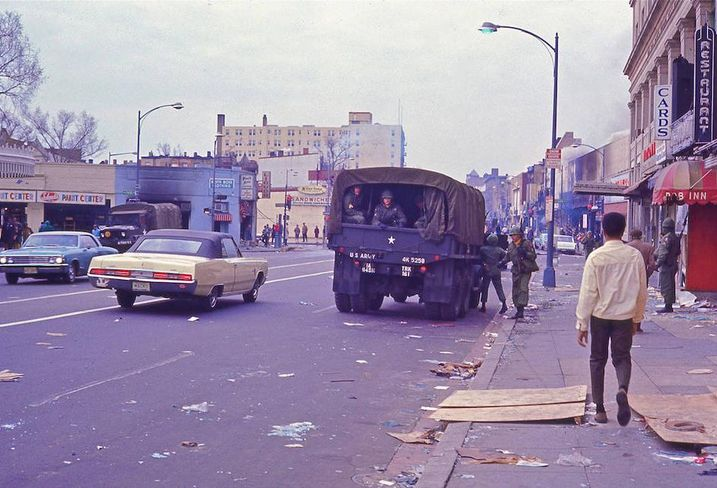 US Army patrolling 14th Street after rioting 1968