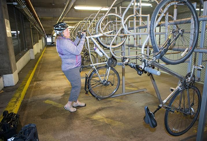 Christine Weber stores her bike at Bank of America Financial Center