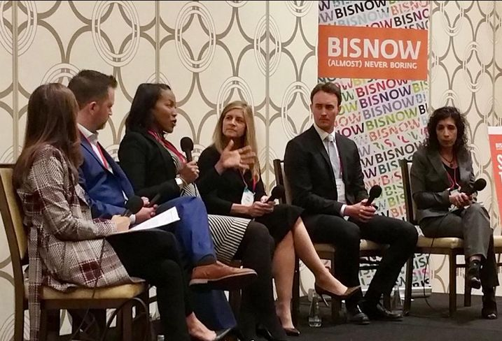 JP Morgan Chase Bank's Kenya Williams speaks at Bisnow's LA Capital Markets and Foreign Investments Feb. 28, 2017 at the JW Marriott in downtown Los Angeles.  Pictured from left to right: Pircher, Nichols & Meeks' Erin Natter, Pender Capital's Co-Founder's Zach Murphy, JP Morgan Chase Bank's Kenya Williams, Mosaic Real Estate Investors Vicky Schiff, Canyon Partners Real Estate Spencer Schlee and Institutional Property Advisors Anita Paryani Rice.