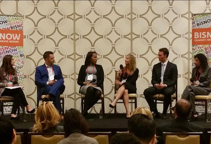 Mosaic Real Estate Investors Vicky Schiff speaks at Bisnow's Los Angeles Capital Markets and Foreign Investments panel Feb. 28, 2017 at the JW Marriott in Los Angeles. Pictured from left to right: Pircher, Nichols & Meeks' Erin Natter, Pender Capital's Co-Founder's Zach Murphy, JP Morgan Chase Bank's Kenya Williams, Mosaic Real Estate Investors Vicky Schiff, Canyon Partners Real Estate Spencer Schlee and Institutional Property Advisors Anita Paryani Rice.