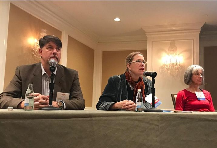 Joint Venture Silicon Valley Executive Director and Oku Solutions founder and CEO David Witkowski, Legal Constructs architect and attorney and AIARE Firestorm Recovery Committee chairwoman Julia Donoho and US Geological Survey Operations Research Analyst Anne Wein during a CREW San Francisco event