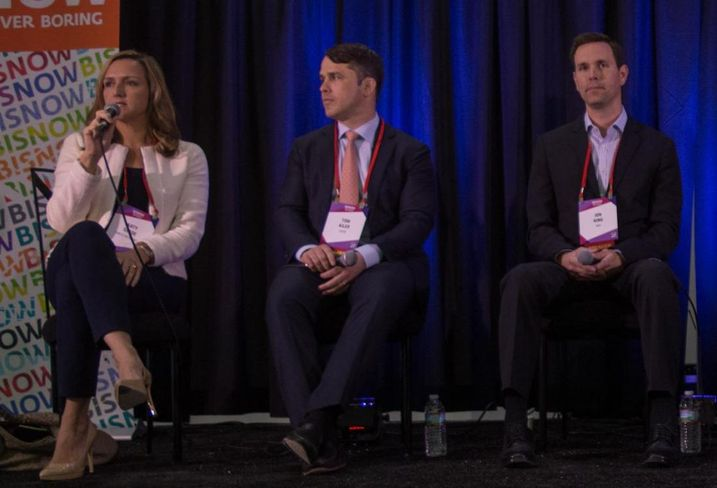 Gables Residential Area Vice President of Investments Katy Slade, EDENS Managing Director Tom Kiler and MAA Regional Vice President Jon King at Bisnow's Future of Uptown/Turtle Creek Event