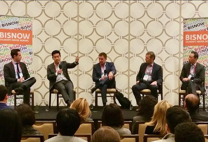 Allen Matkins' Keith Pollock, Douglas Emmett's Tuji Chang, Miramar Capital's Paul Fuhrman, K2 Clean Energy Capital's Jonathan Pickering and Gaw Capital's Mike Hu at Bisnow's were panelist at Bisnow's LA Capital Markets and Foreign Investment Feb. 28 at the JW Marriott in downtown Los Angeles.