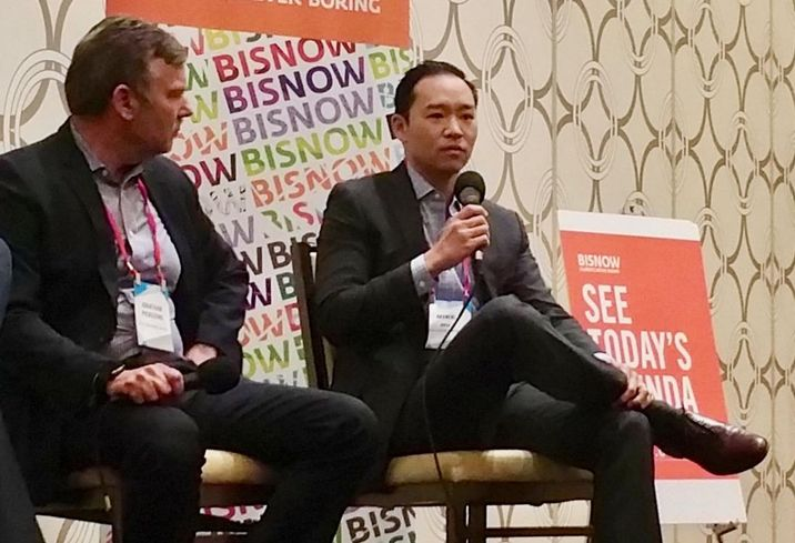 K2 Clean Energy Capital's Jonathan Pickering listens to Gaw Capital's Mike Hu during a panel at Bisnow's LA Capital Markets and Foreign Investment Feb. 28 at the JW Marriott in downtown Los Angeles.