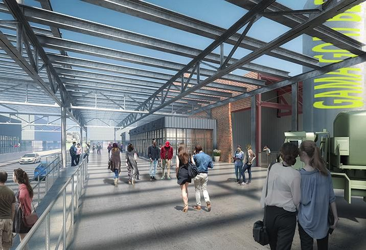 The Gamma Goat Building at Camp North End will include passageways through the building that will connect to cross-streets