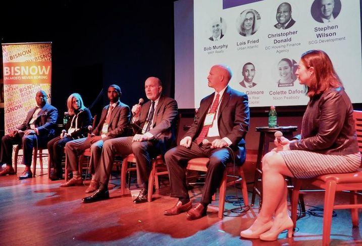 DCHFA's Christopher Donald, Urban Atlantic's Lois Freid, KeyBank's John Gilmore, MRP's Bob Murphy, SCG Development's Stephen Wilson and Nixon Peabody's Colette Dafoe