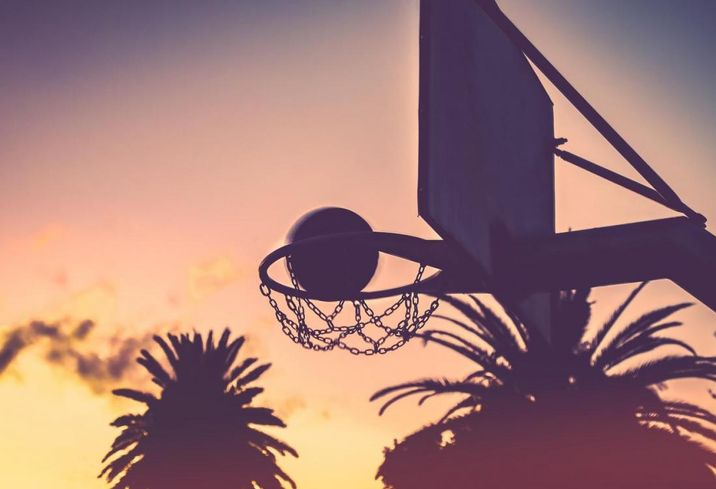 Basketball, sunset, hoop