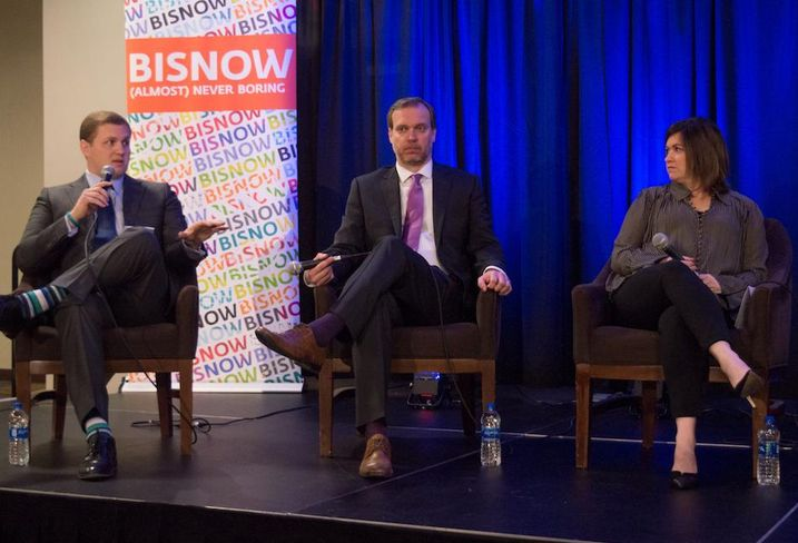 Institutional Property Advisors Associate Joey Tumminello, SPI Advisory principal Michael Becker and Republic Property Group, Walsh, Director of Community Relations Bexie Nobles at Bisnow's Fort Worth State of the Market Event