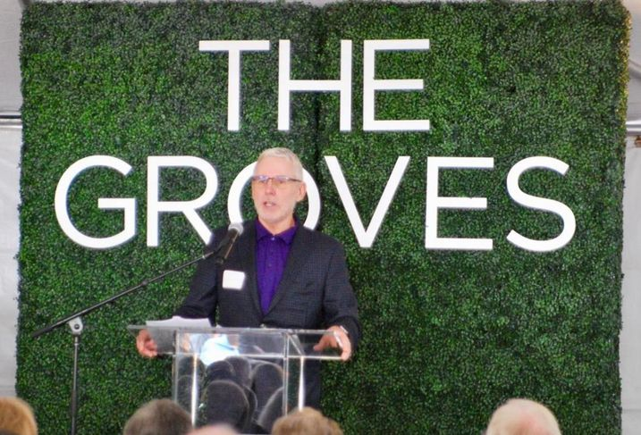 Brookfield Residential's Vice President of Land Entitlements David Bartlett speaks to about 150 people during the groundbreaking of The Groves Whittier.