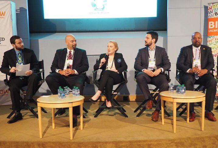 Bisnow East Coast Editor Ethan Rothstein, Menkiti Group Bo Menkiti, MidCity's Madi Ford, MRP Realty's Michael Skena and The Warrenton Group's Warren Williams