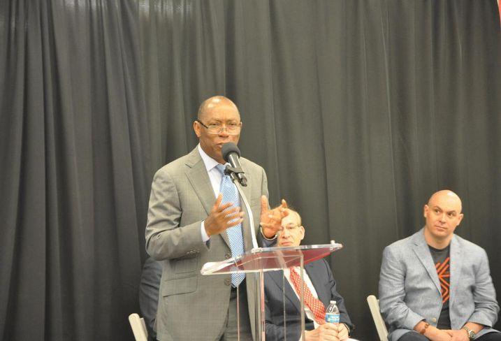 Houston Mayor Sylvester Turner revealing Midtown's Innovation Hub