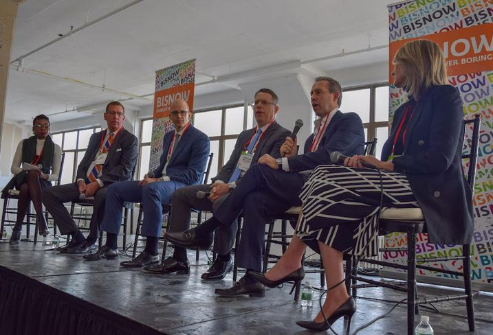 Better Spaces' Bukky Awosogba, SL Green's Steve Durels, Rockefeller Group's Bill Edwards, Brookfield's Duncan McCuaig, Newmark Knight Frank's David Falk and Equiem's Gabrielle McMillan