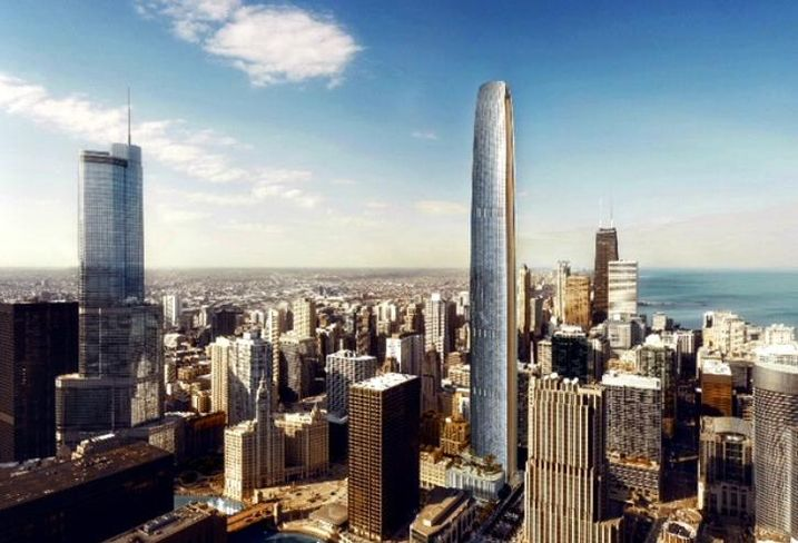 A rendering by architects Adrian Smith and Gordon Gill of the proposed skyscraper to be built next to Tribune Tower