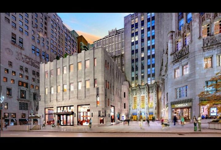 A rendering by Solomon Cordwell Buenz showing its planned renovations to Tribune Tower.