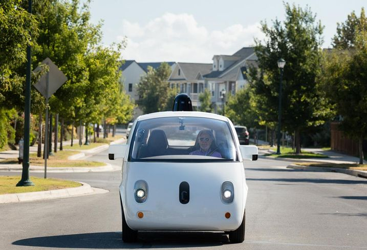 Waymo autonomous vehicle World's first fully self-driving ride on public roads: Steve Mahan (blind passenger in the car)