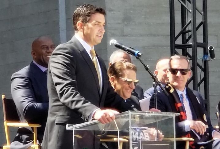 Los Angeles Football Club President Tom Penn greets the crowd during a ribbon cutting ceremony April 18 at the Los Angeles Football Club stadium in Los Angeles.