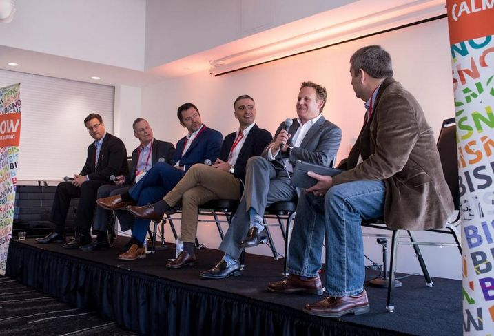 Archtower Managing Director Michael Mueller, Hamilton Properties CEO Larry Hamilton, Pender Capital co-founder and Managing Director Zach Murphy, Virgin Hotels Vice President of Development Rani Gharbie, Dream Hotel Group Chief Development Officer David Kuperberg and DPR Construction Project Executive Jeff Parsons at Bisnow's Dallas Lodging Summit