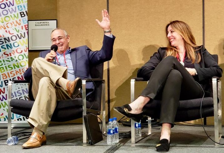 The Athens Group's Jay Newman discusses the future of resorts with MGM Resorts International's Lilian Tomovich April 26 at Bisnow's Lodging & Innovation Series West event at the Sheraton Grand hotel in downtown Los Angeles.