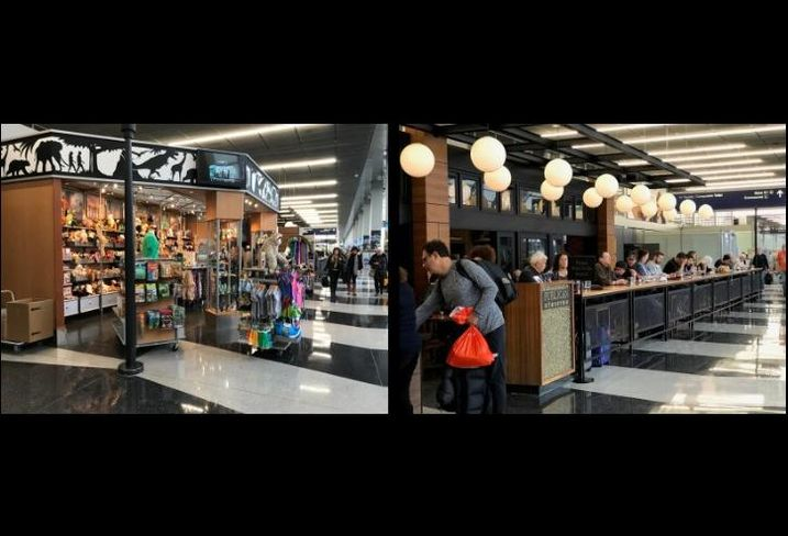 Retail at O'Hare International Airport (left) and Publican Tavern at O'Hare's Terminal 3.