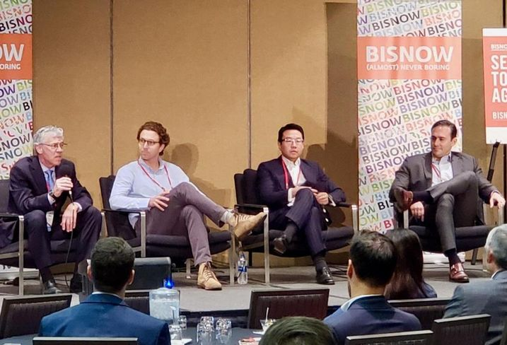 AXIS/GFA Architecture + Design's Cory Creath, Classic Hotels & Resorts John Grossman, Interstate Hotels & Resorts Don Li and HVS Adam Lair speak at a panel April 26 at the Bisnow Lodging & Innovation Series West held at the Sheraton Grand Hotel in downtown Los Angeles.