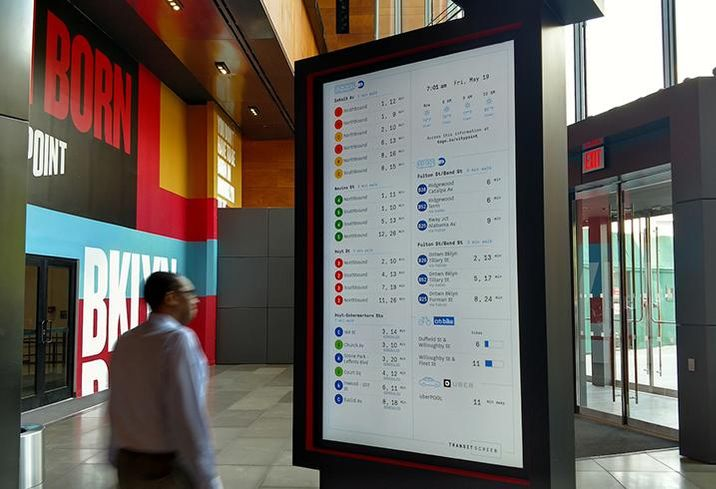 A TransitScreen at City Point in Brooklyn