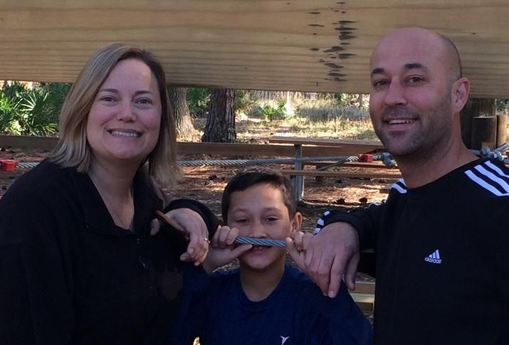 City of Concord Business Development Manager, Community and Economic Development Brian Nunnally with his wife, Liz, and son, Atticus, while zip lining in Florida