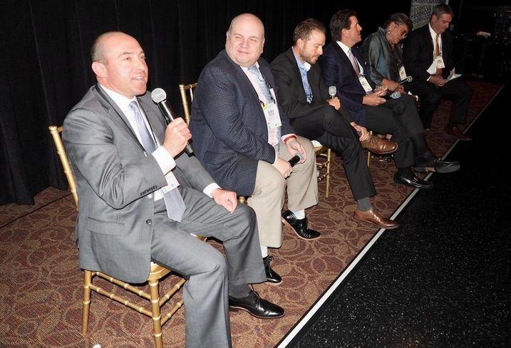 NKF's Andrew Klaff, Loudoun Economic Development's Buddy Rizer, Merritt Properties' Keith Wallace, Avison Young's Bert Harrell, Comstock's Maggie Parker and Lincoln Property's Eamon McCrann
