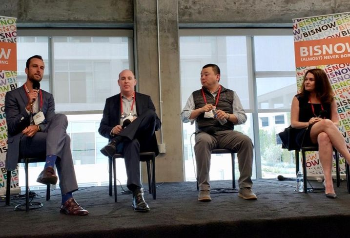 CBRE Advisory & Transaction Services David Freitag, Lincoln Property Company SVP Kent Handleman, Olive Hill Group Vice President, Corporate Development Tim Lee and Cypress Equity Investments CFO Alla Sorochinsky were panelists at Bisnow's Silicon Beach 2018: What's Next For LA's Growing Tech Sector?  event at The Bluffs at Playa Vista.