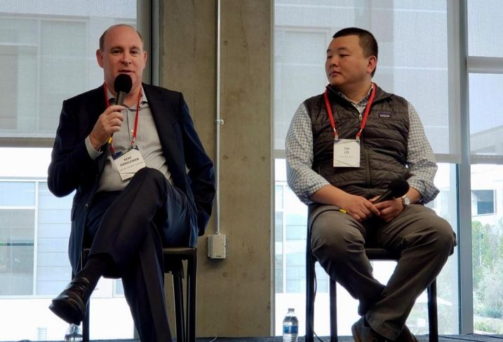 Lincoln Property Co.'s Kent Handleman and Olive Hill Group's Tim Lee at Bisnow's Silicon Beach 2018: What's Next For LA's Growing Tech Sector? event at the Bluffs at Playa Vista.