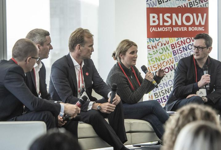 Left to right: RSM Head of RE Construction Ian Taylor; Hines UK Managing Director Anthony Leonard; Managing Director Datscha UK Mark Bruno; WeWork Director of European Transactions Mary Finnigan and 5plus Architects Director Tony Skipper, moderating the discussion.