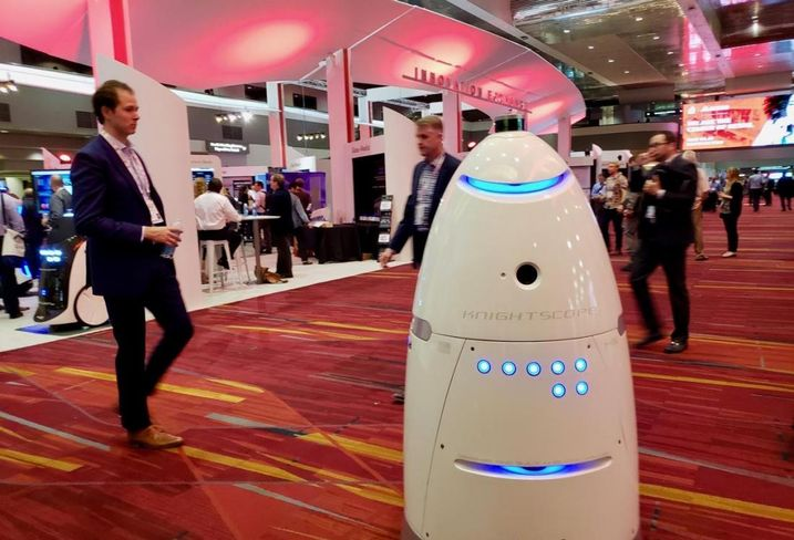 Knightscope unveils its security robot at the ICSC RECon convention at the Las Vegas Convention Center in Las Vegas.