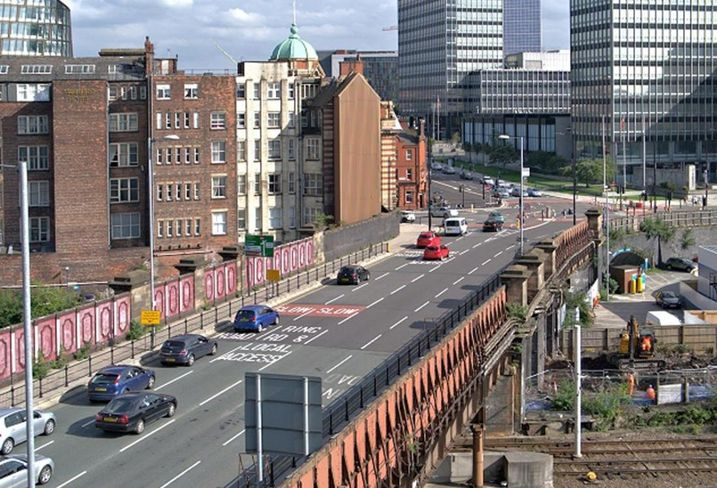 Cheetham Hill Road Manchester as it heads into the city centre