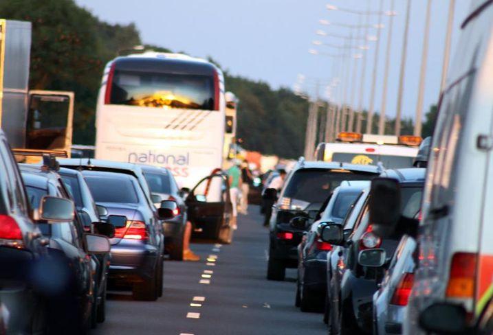 Heavy traffic congestion motorway