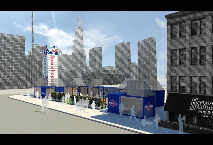 A rendering of Box Shops by Related, a pop-up shipping container market by Related Midwest in Fulton Market.