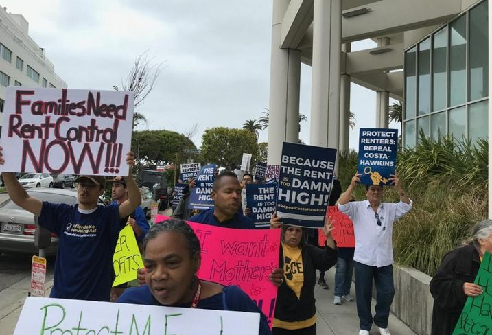 Protest in front of Blackstone Group's office in Santa Monica